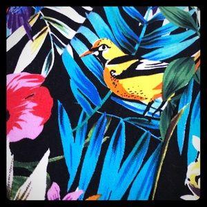 Tropical bird print swing dress